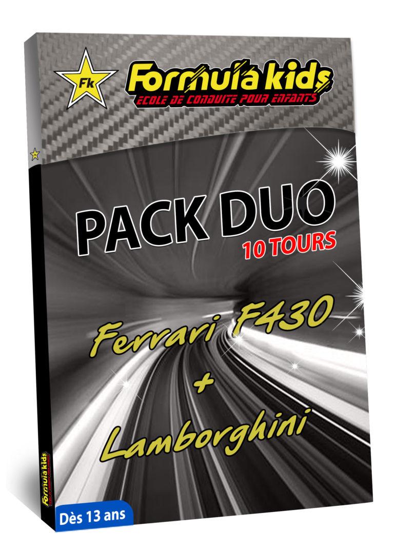 Pack Duo Argent 10 Tours - Conduire une Ferrari Lamborghini dès 13 ans - Formula Kids - Stage de conduite enfant