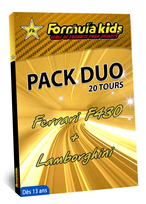 Pack Duo Or 20 Tours - Conduire une Ferrari Lamborghini dès 13 ans - Formula Kids - Stage de conduite enfant