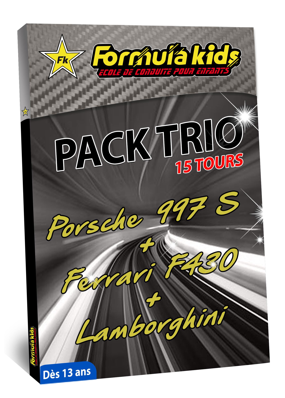 Pack Trio Argent 15 Tours - Conduire une Porsche Ferrari Lamborghini dès 13 ans - Formula Kids - Stage de conduite enfant