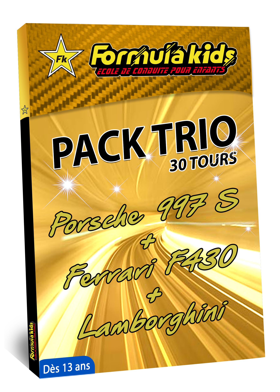 Pack Trio Or 30 Tours - Conduire une Porsche Ferrari Lamborghini dès 13 ans - Formula Kids - Stage de conduite enfant